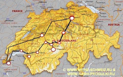 на карту Швейцарии и схему